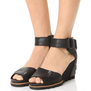 Sorel Joanie Black Wedge Heeled Sandals
